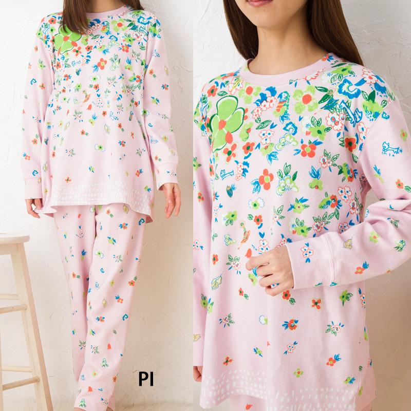Wacoal Chisato Tsumori pajamas house coat tsumori chisato SLEEP 40 dual-layered T-cloth panel pt flower girl +Pt flower UDO651 Chisato Tsumori sleep nightie
