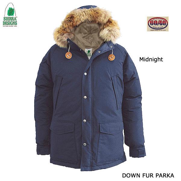 シエラデザインズ 8302 ミッドナイト ダウン・ファー・パーカー SIERRA DESIGNS DOWN FUR PARKA Midnight メンズ アウター アウトドア 60/40クロス ロクヨン フード ファー付き