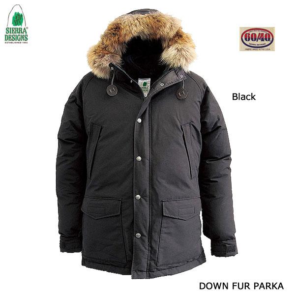 シエラデザインズ ダウン・ファー・パーカー 8302 ブラック あす楽対応 SIERRA DESIGNS DOWN FUR PARKA Black メンズ アウター アウトドア 60/40クロス ロクヨン フード ファー付き