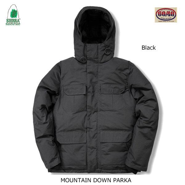 シエラデザインズ マウンテン・ダウン・パーカー 8304 ブラック SIERRA DESIGNS MOUNTAIN DOWN PARKA Black  メンズ アウター アウトドア 60/40クロス ロクヨン フード付き ダウンジャケット
