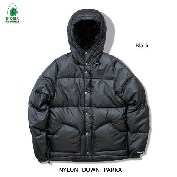 シエラデザインズ あす楽対応 ナイロン・ダウン・パーカー 1324 ブラック SIERRA DESIGNS NYLON DOWN PARKA Black  メンズ アウター アウトドア フード付き ダウンジャケット