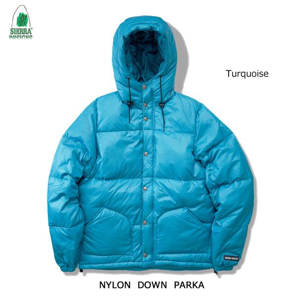 シエラデザインズ あす楽対応 ナイロン・ダウン・パーカー 1324 ターコイズ SIERRA DESIGNS NYLON DOWN PARKA Turquoise メンズ アウター アウトドア フード付き ダウンジャケット