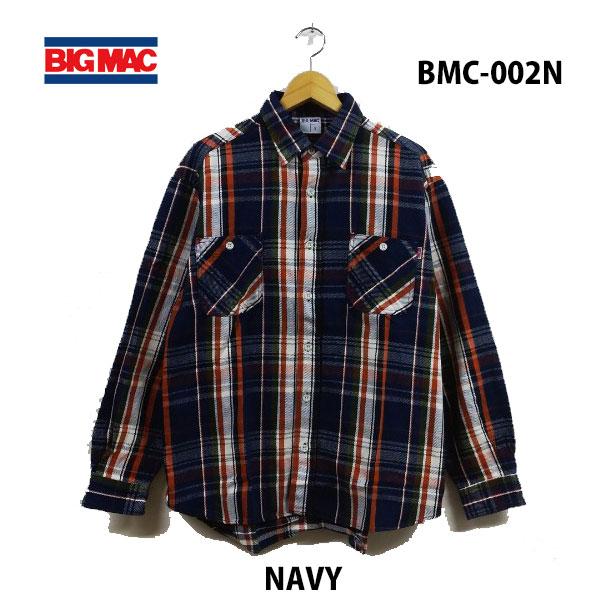 ビッグ マック BMC-002N ネイビー レギュラーシャツ あす楽対応 BIG MAC REGULAR SHIRTS NAVY メンズ ネルシャツ チャックシャツ アメカジ