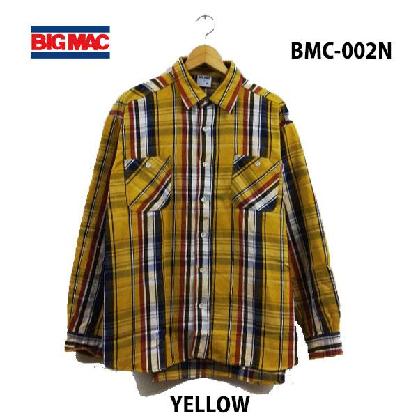 ビッグ マック BMC-002N イエロー レギュラーシャツ あす楽対応 BIG MAC REGULAR SHIRTS YELLOW メンズ ネルシャツ チャックシャツ アメカジ