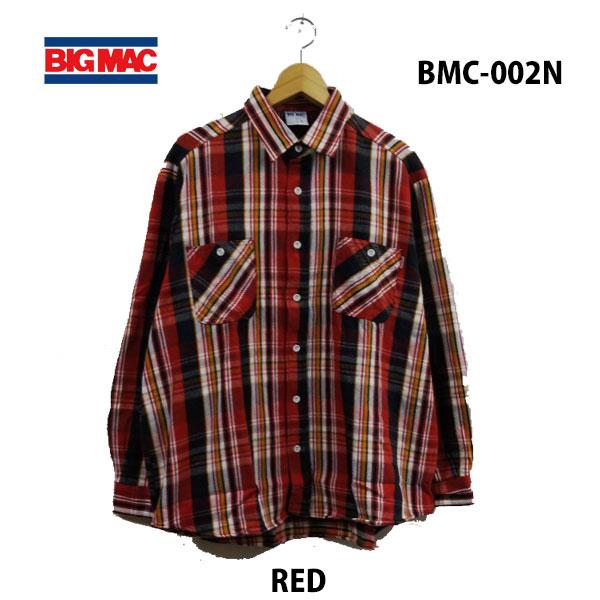 ビッグ マック BMC-002N レッド レギュラーシャツ あす楽対応 BIG MAC REGULAR SHIRTS RED メンズ ネルシャツ チャックシャツ アメカジ