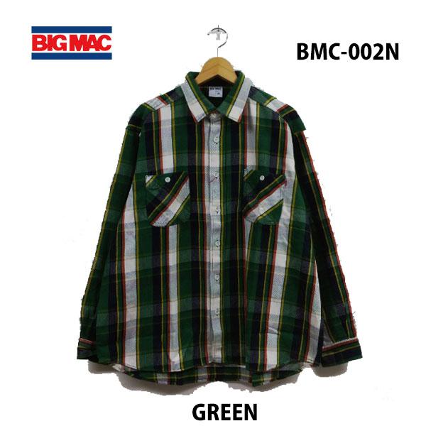ビッグ マック BMC-002N グリーン レギュラーシャツ あす楽対応 BIG MAC REGULAR SHIRTS GREEN メンズ ネルシャツ チャックシャツ アメカジ