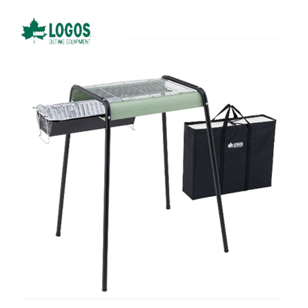 ロゴス 81061600 eco-logosave お手入れ簡単モダングリル/80M(収納バッグ付) LOGOS キャンプ フェス バーベキュー アウトドア グリル  炭の継ぎ足しが簡単なスライド火床 レトロモダンなお掃除楽ちん多機能グリル。