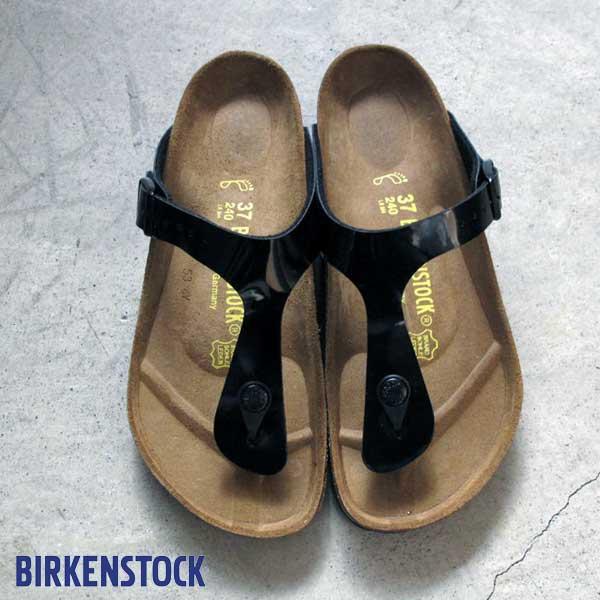ビルケンシュトック ギゼ ブラック ブラックパテント Birkenstock Gizeh Black  Birko-Flor Patent sandal made in Germany ビルコ フロー パテント コルク サンダル レディース ビルケン  043661 正規輸入品証明書つき