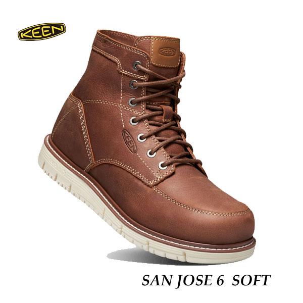 キーン 500円クーポンあり あす楽対応 メンズ サンノゼ シックス ソフト ワークシューズ アウトドアブーツ ワークブーツ KEEN MENS San Jose 6 Soft 1020146 GINGERBREAD/OFF WHITE