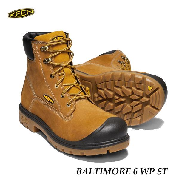 キーン あす楽対応 バルチモア 6インチ  ワークシューズ KEEN MENS BALTIMORE 6 WP ST 1018664 Wheat スチールトゥ STEEL TOE
