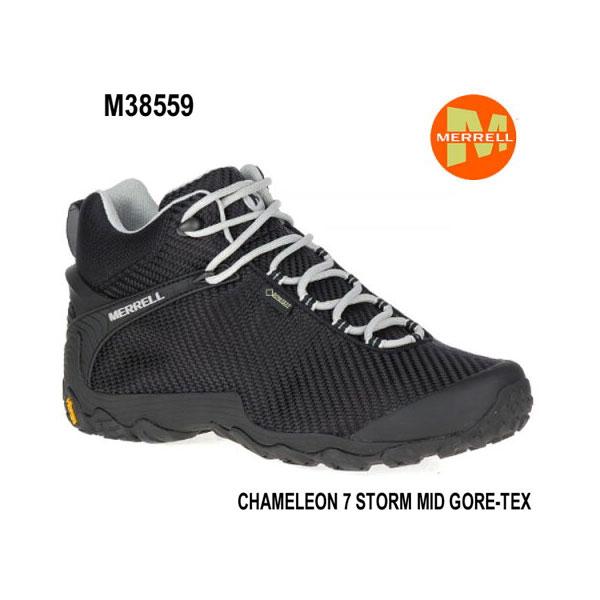 メレル カメレオン 7 ストームミッドゴアテックス M38559 BLACK/BLACK Merrell CHAMELEON 7 STORM MID GORE-TEX メンズ アウトドア ゴアテックス スニーカー