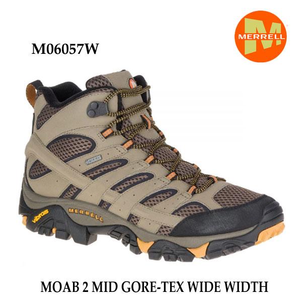 メレル M06057W モアブ 2 ミッド ゴアテックス ワイド ワイズ Merrell MOAB 2 MID GORE-TEX WIDE WIDTH WALNUT メンズ アウトドア ゴアテックス スニーカー 防水 幅広 幅3E相当
