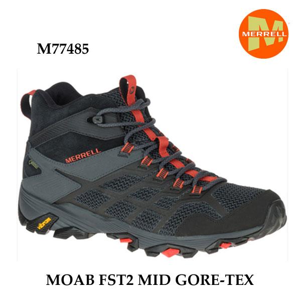 メレル M77485 モアブ エフエスティ2 ミッド ゴアテックス Merrell MOAB FST2 MID GORE-TEX BLACK/GRANITE メンズ アウトドア ゴアテックス スニーカー 防水 幅2E相当