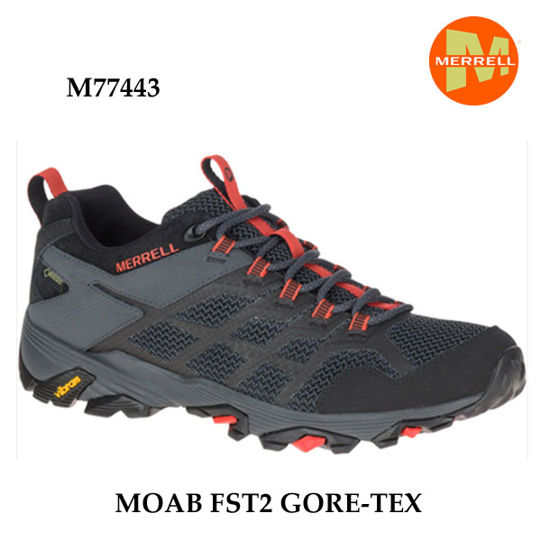 メレル M77443 モアブ エフエスティ2 ゴアテックス Merrell MOAB FST2 GORE-TEX BLACK/GRANITE メンズ アウトドア スニーカー 幅2E相当