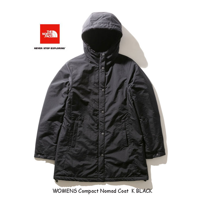 ザ ノースフェイス NPW71935 K コンパクトノマドコート(レディース)2019年最新カラー 防風性、撥水性に優れたコート The North Face Womens Compact Nomad Coat NPW71935 K BLACK ブラック