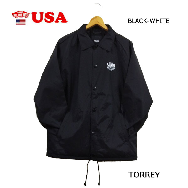 バンズ あす楽対応 ヴァンズ コーチジャケット ブラック-ホワイト VANS MN TORREY BLACK-WHITE メンズ アウター