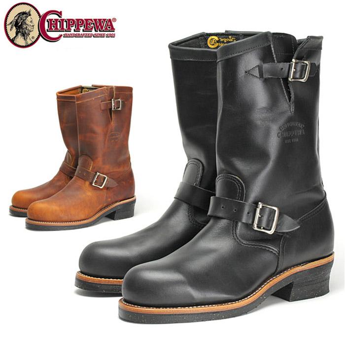 【送料無料】チペワ 11インチブーツ メンズ エンジニアブーツ ショートブーツ スチールトゥ・セーフティシューズ ビブラムソール ワークブーツ 黒 ブラック タン 茶 ブラウン CHIPPEWA Eワイズ 靴 くつ クツ