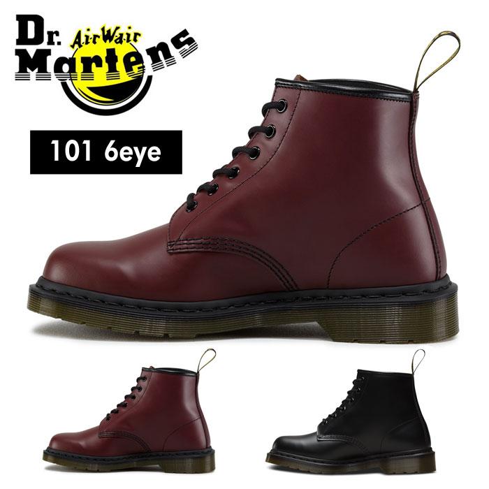 【送料無料】ドクターマーチン Dr.Martens 6ホール ブーツ メンズ レディース ウィメンズ ブーツ レースアップ シューズ 編み上げ レディース ウィメンズサイズ 黒 ブラック 赤 レッド スムースレザー 101 6EYE BOOT CHERRY RED BLACK 靴 くつ クツ