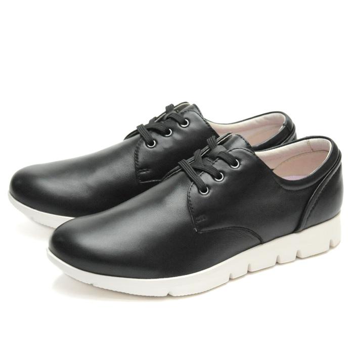 【あす楽】【即納】 【送料無料】フィットジョイ FIT JOY FJ-021 ブラック 黒 レザーシューズ スニーカー レディース ウォーキングシューズ 軽量 シープスキン 旅行用 靴 おしゃれ