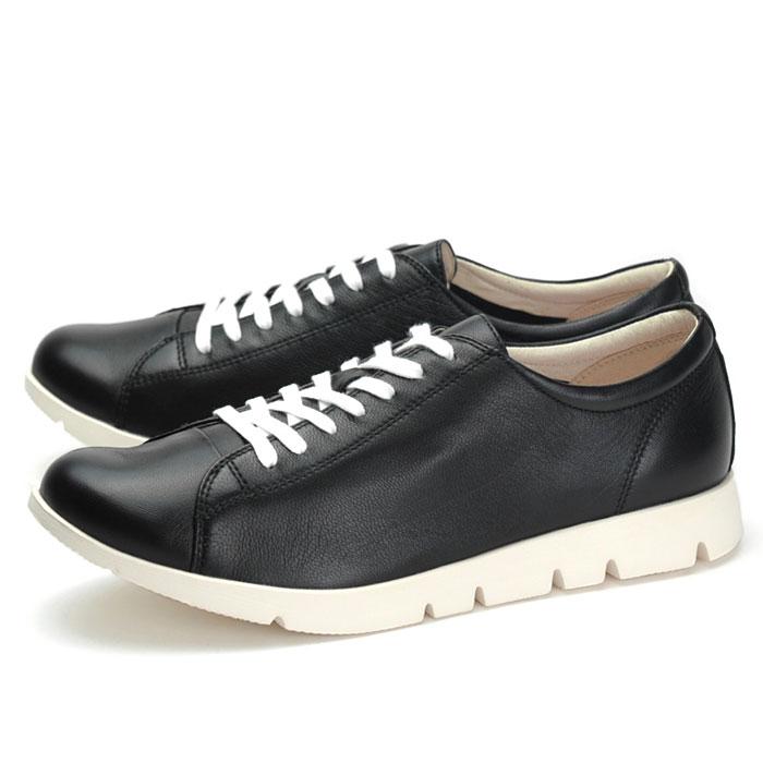 フィットジョイ FIT JOY FJ-022 ブラック 黒 歩きやすい スニーカー レディース ウォーキングシューズ 軽量 軽い レザーシューズ シープスキン 旅行用 柔らかい 靴 おしゃれ疲れない 通勤 通学 楽ちん