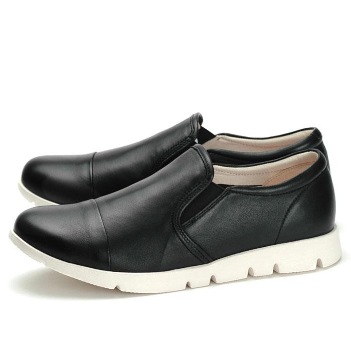 フィットジョイ FITJOY FJ-023 ブラック 黒 スニーカー レディース ウォーキングシューズ 軽量 レザーシューズ シープスキン 旅行用 靴 くつ クツ おしゃれ