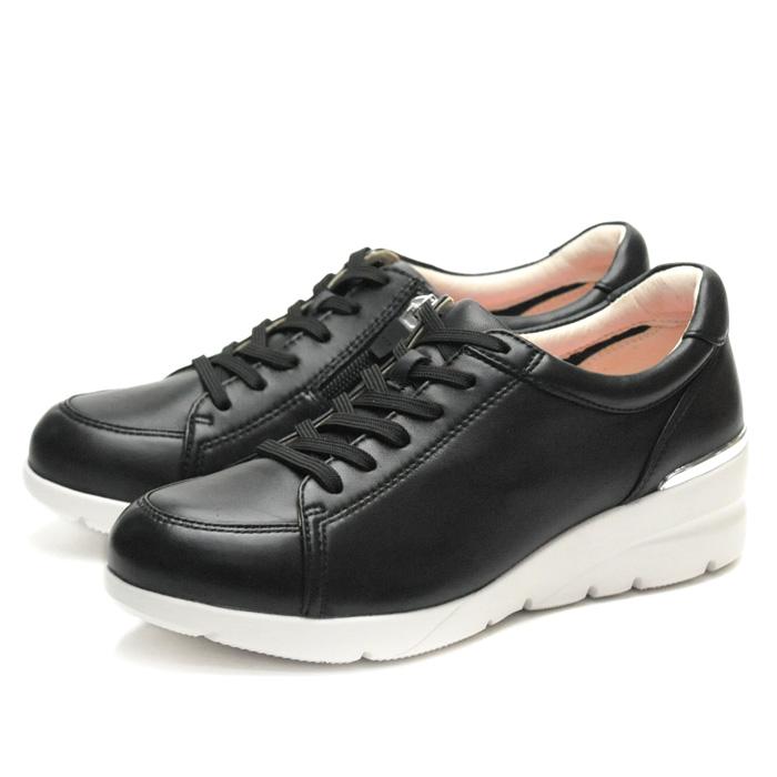 【あす楽】【即納】 【送料無料】フィットジョイ FITJOY FJ-033 ブラック 黒 スニーカー レディース ウォーキングシューズ 軽量 レザーシューズ シープスキン 旅行用 靴 おしゃれ