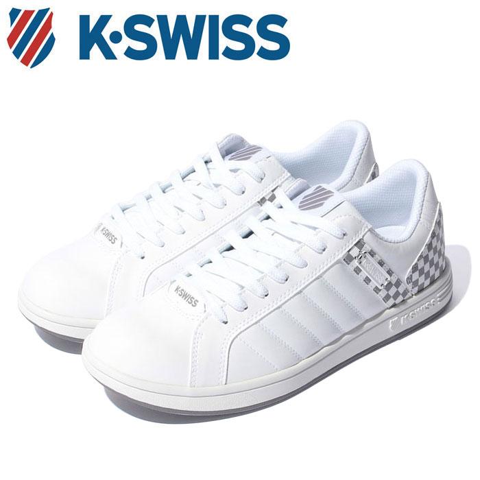 【送料無料】Kスイス ケースイス メンズ レディース ウィメンズ ホワイト グレー 白 チェッカー ローカット スニーカー テニスシューズ K-SWISS KSL 03 WHITE 36800030 靴 くつ クツ