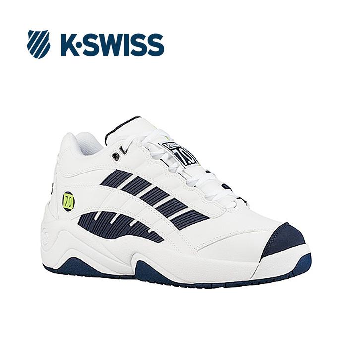送料無料 Kスイス ケースイス メンズ スニーカー ホワイト ネイビー ダッドスニーカー ダッドシューズ おじ靴 レザー テニスシューズ コートシューズ SI-Defier7.0 White/Navy/Lime 36061400