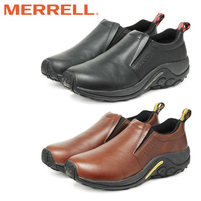 メレル ジャングルモック メンズ レザー スニーカー シューズ アウトドア スリッポン ウォーキングシューズ 靴 くつ クツ 黒 茶 MERRELL JUNGLE MOC LEATHER 紐なし