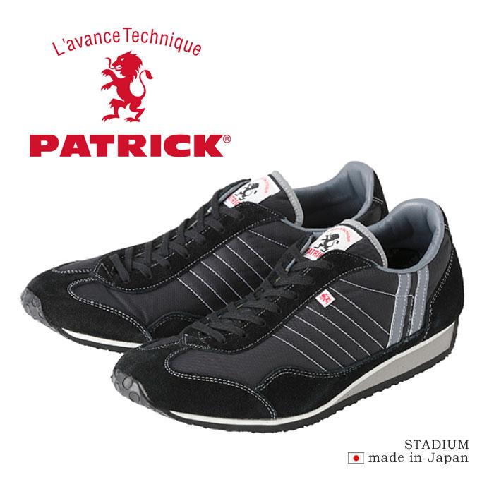 パトリック スタジアム スニーカー メンズ レディース ウィメンズ シューズ 定番 日本製 ブラック 黒 PATRICK STADIUM 23011 靴 くつ クツ