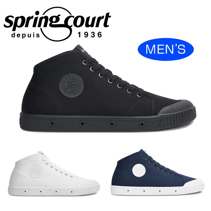 【送料無料】SPRING COURT スプリングコート B2 CANVAS キャンバス 白 ホワイト ミッドナイト青 ブルー 黒 ブラック スニーカー ミッドカット メンズ コートシューズ B2N-V1 靴 くつ クツ
