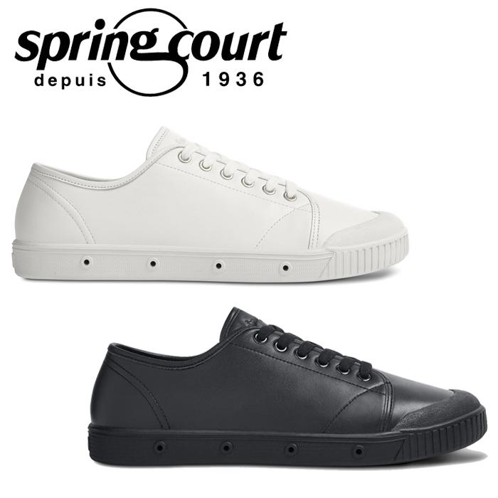【送料無料】SPRING COURT スプリングコート G2 LEATHER レザー ホワイト ブラック 黒 白 スニーカー ローカット レディース ウィメンズ コートシューズ G2S-V5 靴 くつ クツ