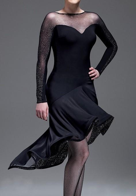 【新着】社交ダンス ドレス ラテン ブラック L モダン デモ・競技用ドレス 発表会 衣装 パーティドレス ワンピース