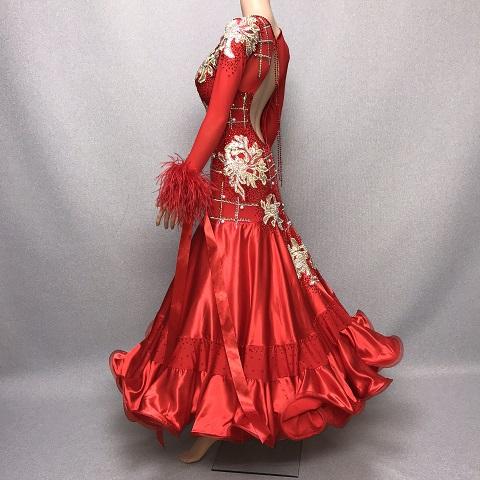 【新着】 社交ダンス スタンダード レッド L デモ・競技用ドレス