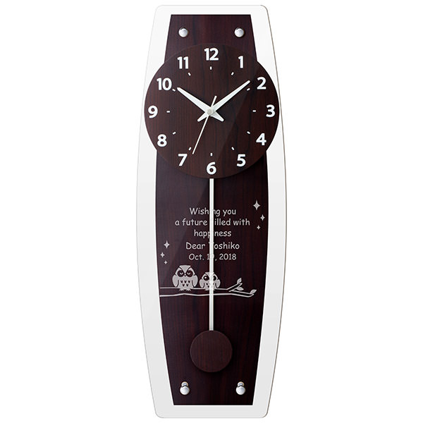 【電波時計】名入れ壁掛け時計 オーバルクロック 【彫刻してオリジナル♪】振り子時計 ダークブラウン 売れ筋