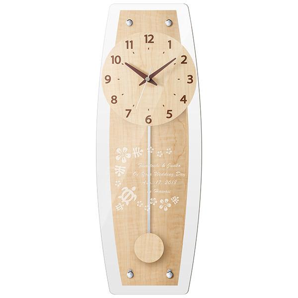 【電波時計】名入れ壁掛け時計 オーバルクロック 【彫刻してオリジナル♪】振り子時計 ナチュラル