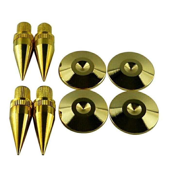 音質改善と振動抑制に効果を発揮するスピーカースパイク インシュレーター スピーカー 当店一番人気 スパイク ゴールド 送料無料 4個セット D チープ