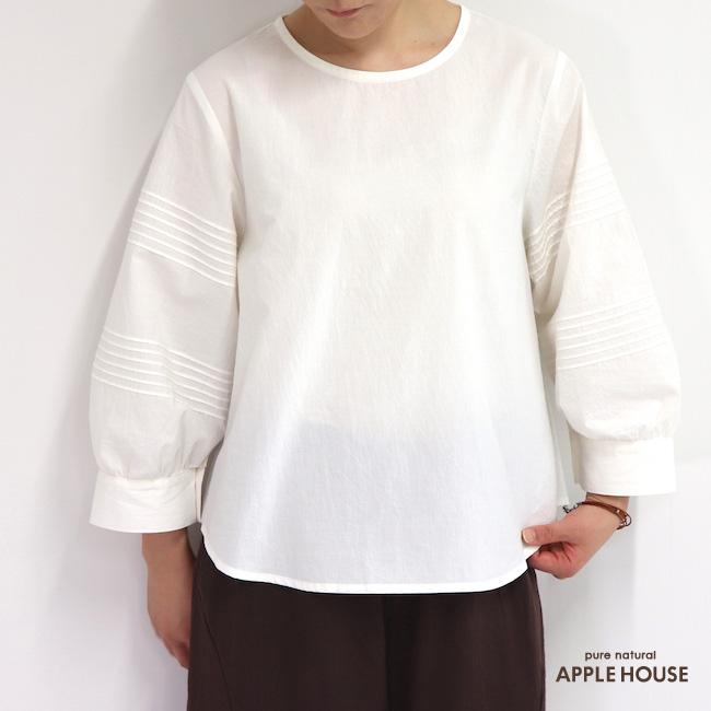 レディース 前後で着られる シャツ ボリューム袖 七分袖 日本製 フスキーシャツ(白)アップルハウス