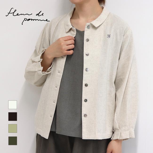 レディース 羽織りシャツ 七分袖 ポケット付き 日本製 ビッシーシャツ(コットンリネン)アップルハウス