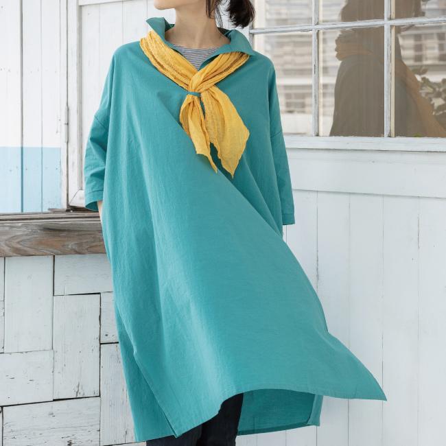 セール 30%OFF レディース チュニック 七分袖 シャツカラー 大きいサイズ 日本製 ノクターンチュニックB(コットン100%)アップルハウス
