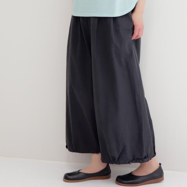 30%オフ セール レディース ワイドパンツ 裾タブ 8分丈 9分丈 日本製 ニメンパンツ(コットン100%)アップルハウス