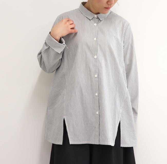 30%OFF レディース ストライプシャツ マニッシュ 長袖 ポケットつき 春 日本製 デスクシャツ(コットン100%)アップルハウス