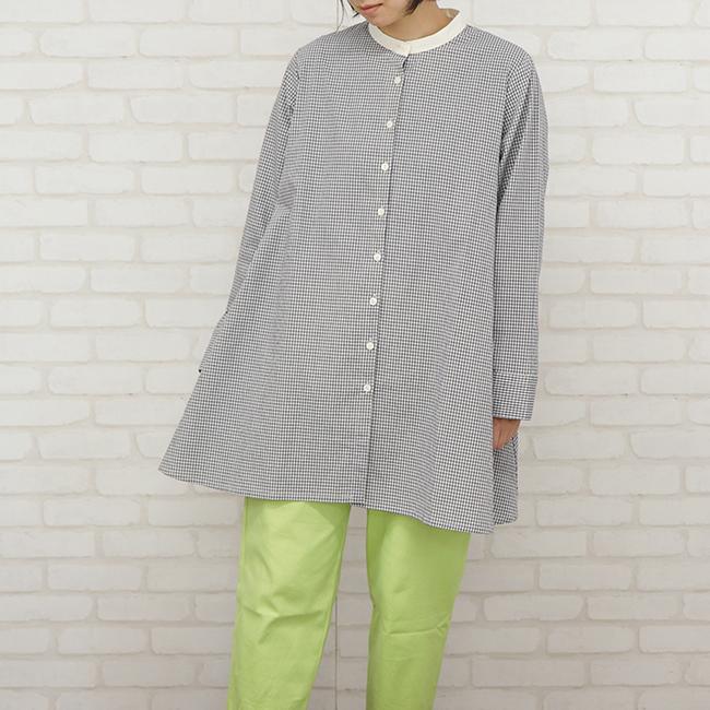 30%OFF レディース チェックシャツ クレリックカラー Aラインシルエット 長袖 ポケットつき 春 日本製 トウメイシャツ(コットン100%)アップルハウス