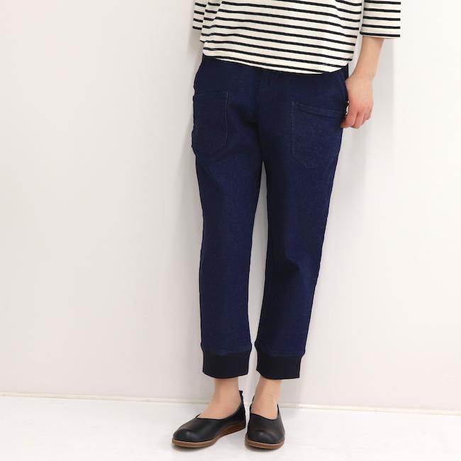 レディース デニムパンツ ジョガーパンツ 8分丈 9分丈 裾リブ 日本製 デニム トキメキパンツ(ストレッチ/紺)アップルハウス