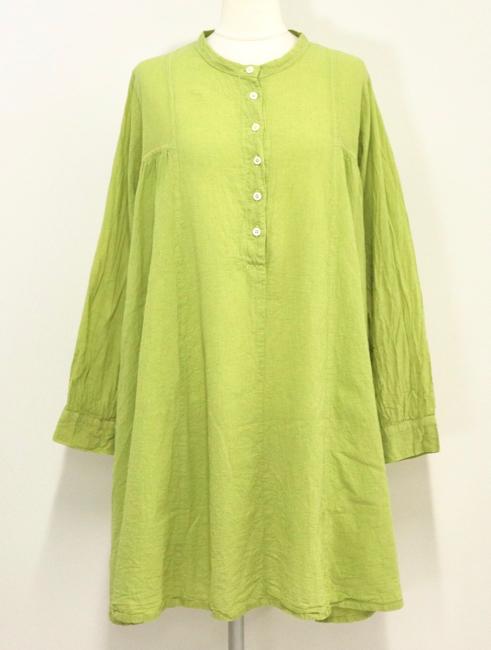 30%OFF レディース チュニック かぶり スタンドカラー 長袖 ゆったりサイズ あと染 日本製 タタールチュニック(コットンリネン)アップルハウス