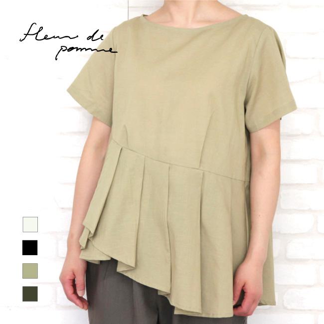 レディース オーバーシャツ 半袖 フレア裾 日本製 ニルソンシャツ(コットンリネン)フルール・ド・ポム アップルハウス