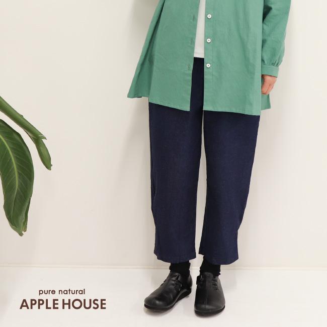 レディース パンツ ジーンズ ウエストゴム 7分 8分 9分丈 春秋 日本製 シナノパンツ(デニム/紺)アップルハウス