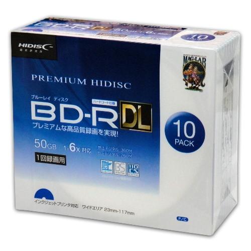 【ポイント最大36倍★12月10日限定】【まとめ買い 10個セット】 HI-DISC 6倍速 録画用BD-RDLケース10枚パック 高品質ディスク ホワイトワイドプリンタブル対応 ハードコート仕様 HDVBR50RP10SC お取り寄せ