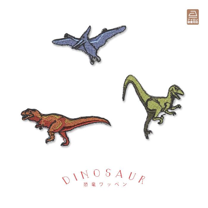 男の子に人気の恐竜が大集合 ティラノサウルスやヴェロキラ 高価値 プトルプテラノドンなどの肉食系恐竜3種 恐竜ワッペン 肉食系3種類 ティラノサウルス プテラノドン 返品送料無料 アイロン接着 ヴェロキラプトル アップリケ 刺繍