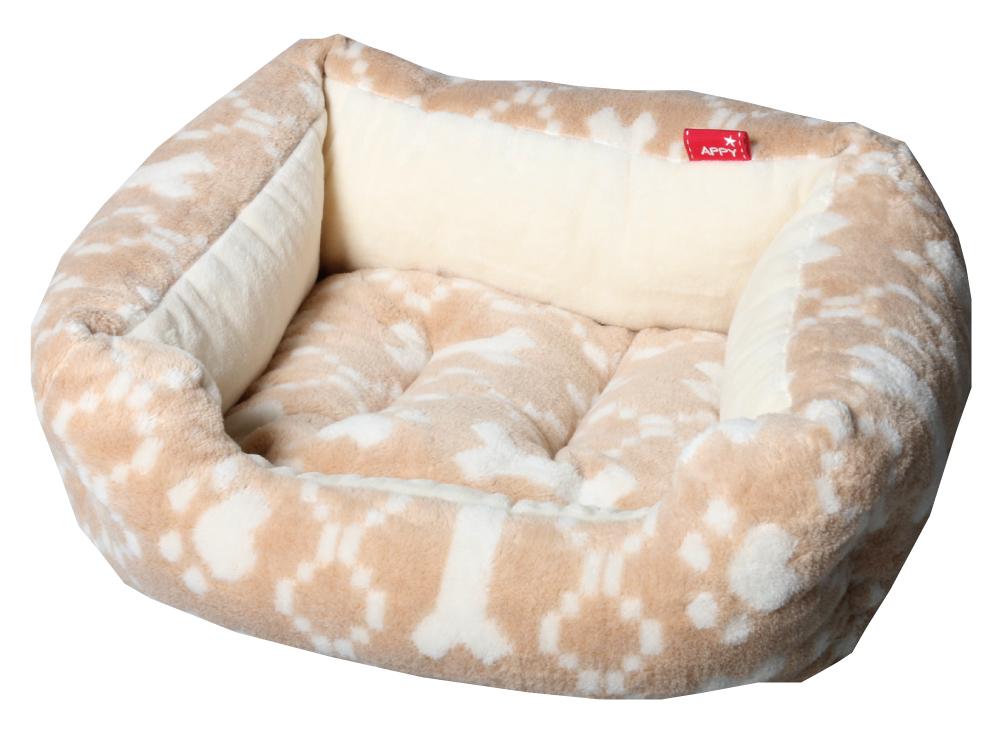 肉球+ボーン柄ジャガードスクエア型S【犬のベッド】【猫のベッド】オーガニックコットン